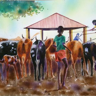 Boys Dipping Cattle - Watercolour - South Africa - - Tokozani Matobela