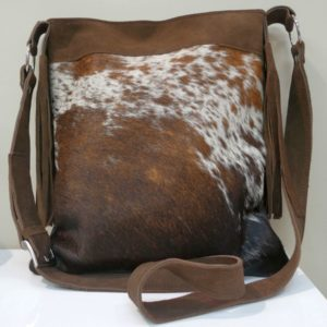 leather bag sahara style - nguni leather by textile and interior designer - South Africa