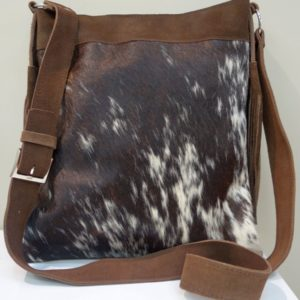 South African leather bag - with tassles Sahara design - nguni leather