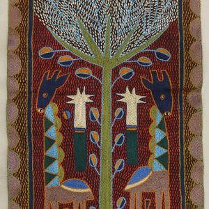 Wallhanging by Kaross - handembroideru from South Africa - featuring giraffes and a tree