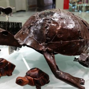 scrap metal turtle from Zimbabwe - sales support orphans and disadvantaged children