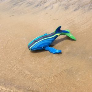 Whale carving from recycled thongs and flipflops - Ocean Sole Kenya