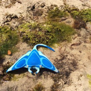 Manta ray from recycled thongs
