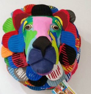 Ocean Sole Wall Art - Lion made from recycled thongs - made in Kenya
