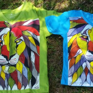 Lion T-Shirt - with artwork by Tinga Tinga artist Steven Best Mkumba - Fashion The Fair Trade Way