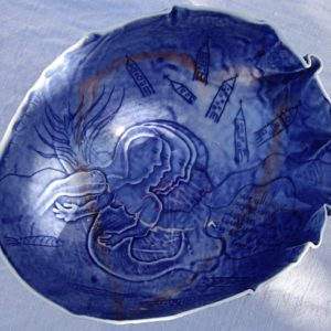 """Blue Porcelain Bowl by John Bauer with the inscription """"we all have something broken about us, could you love this kind of broken forever"""